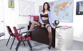 My Nerdy Teacher starts working her Hot Shaved Pussy at the Classroom