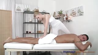 This Blonde Masseuse Is Preparing Him All To Herself