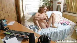 Barely Legal Teen Playing with her Innocent Body in the Front of Webcam