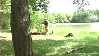 Dirty Voyeur Caught his Victim Deep in the Woods