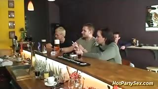 Drunk Guys Gangbanged Young Girl in the Pub