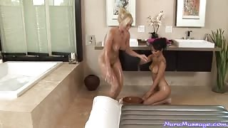 Oiled Lesbian Body to Body Massage