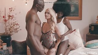 Beauty Blonde Teen and Much Pretty Ebony In Romantic Triangle