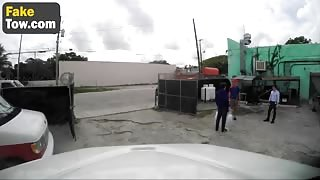 Helpless Latina Chick Rough Fucked By Fake Tow Truck Guy