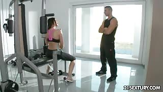 Busty MILF Fucks with her Horny Personal Trainer in the Gym