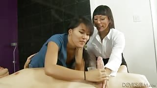 With Stepmom Guiding the First Blowjob is So Easy - Slutty Asians Milking Big Swollen Cock