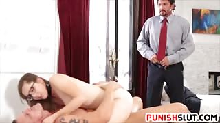 Little Hooker Rough Fucking with her Kinky Stepdad and his Business Partner
