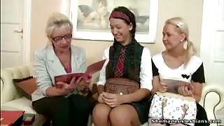 Mature Lesbian Teaching Two Young Girls how to Satisfy Each Other