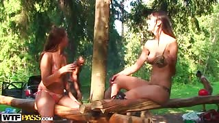 Student Party in the Forest Turns Into Wild Group Fuck