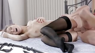 Blonde in Stockings Gets her Pussy Stretched by Big Cock