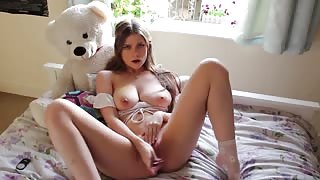 Stunning Schoolgirl Fucking her Pussy and Ass with New Sex Toy