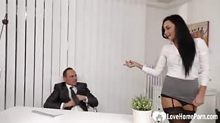 Dirty Secretary in Sexy Stockings Wants to Make her Boss Happy Today