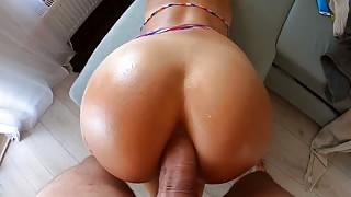 Hot Latina Babe with Big Round Ass Tries Anal Sex