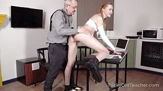 Redhead Hottie Shares Pussy with her Horny Teacher to Pass the Exam