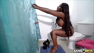 Busty Ebony Stepmom Though her Husband is Jerking Under the Shower
