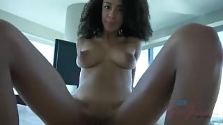 Gorgeous Ebony Teen with Curly Hair Sucks my Cock and Gets Creampied