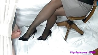 Dude Cums Twice on her Female Boss's Feet and Heels