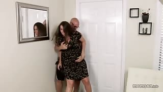 Crazy Guy Attacks and Forces his Stepmom to Suck Dick and Spread Legs