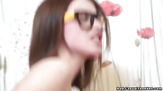 Beautiful Nerdy Doll Got Fresh Warm Cum on her Glasses after Hard Fuck