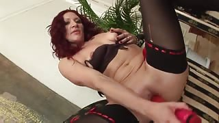 Mature Redhead Bitch Enjoying Double Penetration with Two College Boys
