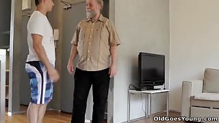 Tiny Teen Chick Convinced to Suck Old Man's Dick and Spread her Lovely Legs