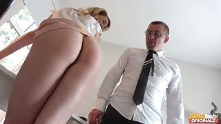 Young Blondie Pounded At Her Office By Her Older Boss