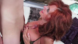 Dirty Redhead MILF Loves Putting Young Hard Dicks Between Her Huge Boobs