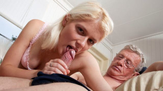 Nasty Blonde Wants to Have a Taste of Experienced Old Cock